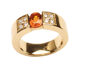 Bague or pierre orange - Hervé Durand